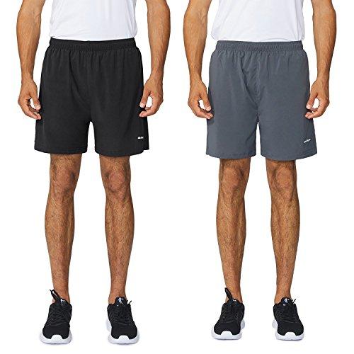 Baleaf Men's Woven 5″ Running Shorts 2-Pack Gray/Black Size S