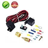 175 - 185 Degree Electric Engine Cooling Fan Thermostat 40 amp Relay Temp Temperature Sensor Switch Kit