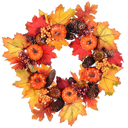 - Woooow Pumpkin Harvest Silk Fall Wreath Front Door Wreath 15 Inches - Pumpkin Acorns Gourd Berries Maple Leaves Grapevine Thanksgiving Wreath Brightens Party Wedding Halloween Festival Decor