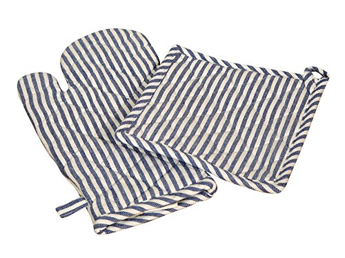 Striped Pot Holder - Blue & White Striped Oven Mitts & Pot Holders Set 4 pack