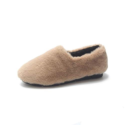 Mocasines De Mujer Pisos Casuales Zapatos Plataforma para Damas Punta Redonda Flock SóLido Tela De AlgodóN Slip-On Mantener El Calzado CáLido: Amazon.es: ...