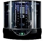 2019 Valencia Computerized Steam Shower Sauna with Jetted jacuzzi Whirlpool Massage Bathtub Spa (White)