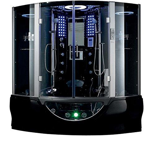 Valencia Steam Shower Sauna With Jetted jacuzzi Whirlpool massage (Black)