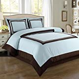 Egyptian Bedding Luxurious 8 Piece King Size Hotel Blue and Chocolate Bed In A Bag Set. Includes Duvet Cover Set + 100% Egyptian Cotton Bed Sheet Set + Down Alternative Comforter