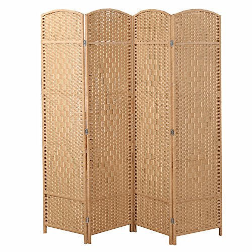 Decorative Freestanding 4 Hinged Panel Woven Beige Wood Privacy Room Divider Partition Screen