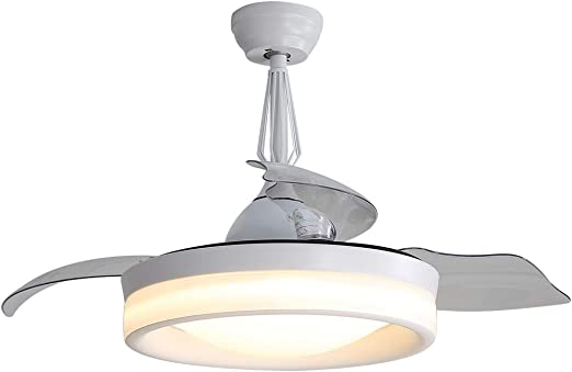 EDISLIVE Ventilador de techo invisible con aspas transparentes y luces retráctiles con mando a distancia, luz regulable: Amazon.es: Iluminación