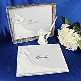 Leoie Bride and Groom White Wedding Guest Book Visitor Register Engagement Anniversary Guestbook Album Party Decor Supplies