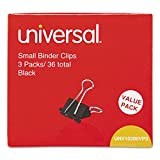 Universal 10200VP3 Small Binder Clips, 3/8'' Capacity, 3/4'' Wide, Black, 36/Pack