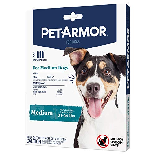 PetArmor for Dogs, Flea and Tick Treatment for Medium Dogs (23-44 Pounds), Includes 3 Month Supply of Topical Flea Treatments