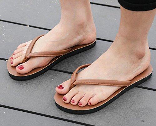 Sentao Unisex Playa Piscina Sandalias Comodidad Chanclas Clip Toe Flip-flop Marrón