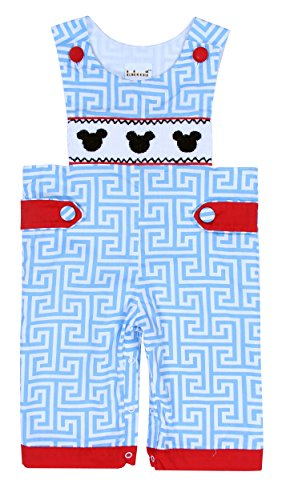 Babeeni Romper Baby Boy With Mickey Smocked Pattern On The Bodice, Greek Key Longall For Kids (12M)