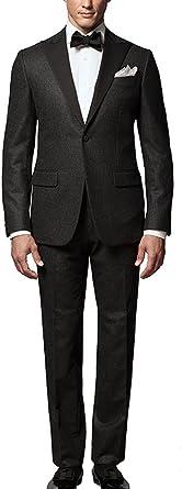 Michealboy Men Suit Classic Fit 2-Piece Black Two Pockets Gentleman