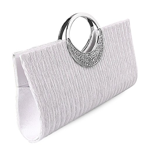 Pleated donna Bag Bianco Clutch giorno Poschette UNYU ROvxM
