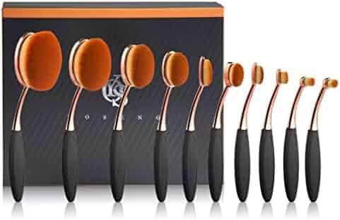 Yoseng Makeup Brush Set of 10Pcs New Fashionable Super Soft Professional Oval Toothbrush Foundation Contour Powder Blush Conceler Eyeliner Blending Brush Cosmetic Brushes Tool Set with Box(Rose Gold)