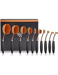 Yoseng Makeup Brushes Set 10Pcs Professional Oval Toothbrush Foundation Contour Powder Blush Conceler Eyeliner Blending Brush New Fashionable Super Soft Cosmetic Brushes Tool Set with Box(Rose Gold)