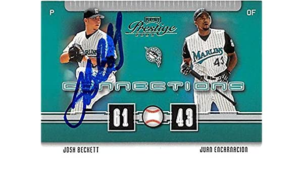 Josh Beckett Autographed Baseball Card Florida Marlins 2003