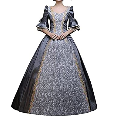 ROLECOS Womens Royal Vintage Medieval Dresses Lady Satin Gothic Masquerade Dress