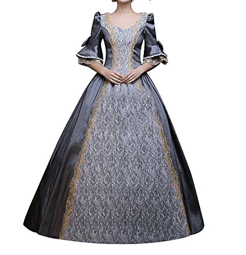 Lemail Womens Modern Victorian Dress 18th Century Masquerade Fancy Dress Ball Gown Grey (Lace Lace Up Wig)