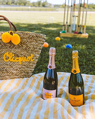 Yellow Veuve Handles Leather with Tote Clicquot Shopping Design Braided Bag Natural FxqS7nFz