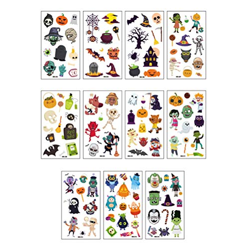 NUOBESTY Halloween Temporary Tattoos Party Favors - Goody Bags Fillers Kids - Pumpkin/Skull/Ghost/Monster - 11 Sheets]()