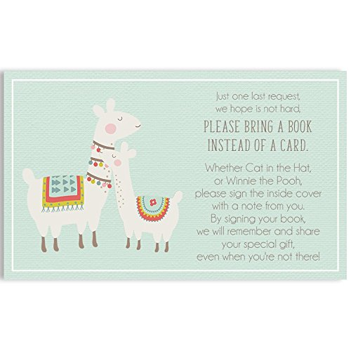 Bring A Book Cards, Baby Shower Invitation Book Inserts, Llama Mama Baby Shower, Mama Llama, Baby Llama, Mint, Brown, 24 Printed Cards