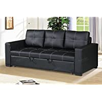 Modern Functional Black Faux Leather Convertible Sofa with Pull-Out Bed