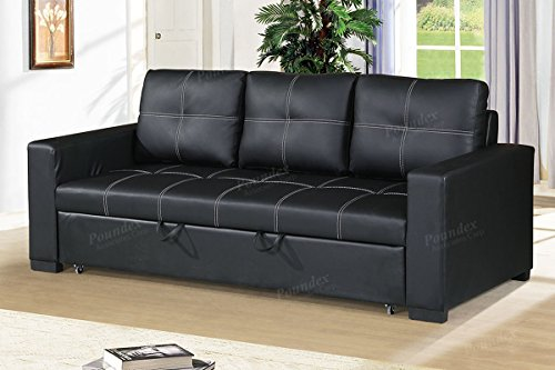 Modern Functional Black Faux Leather Convertible Sofa with Pull-Out Bed by Advanced Furniture