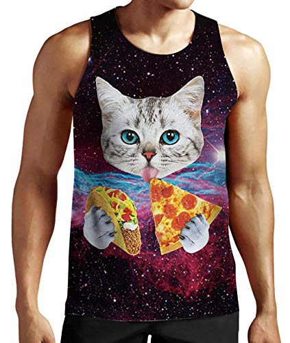 Chick Tank Top - Idgreatim Men 3D Galaxy Cat Printed Casual Graphic T Shirts Tees X-Large