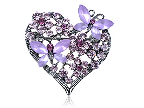 Crystal Butterfly Bracelet (Alilang Womens Floral Butterfly Heart Silvery Tone Brooch Pin with Swarovski Crystal Rhinestones - Available In Red, Pink, Lavender, Blue or Clear)