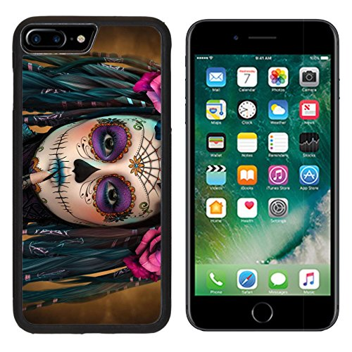 (Luxlady Apple iPhone 7 Plus iPhone 8 Plus Aluminum Backplate Bumper Snap iphone7plus/8plus Case ID: 44522015 3d computer graphics of a young woman with sugar skull makeup)