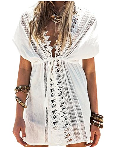 Comfy Women's Solid Lace Long Sleeve Swimwear Cover Ups White One Size