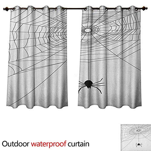 Anshesix Spider Web 0utdoor Curtains for Patio Waterproof Complex Doodle Net Sticky Gossamer Hunting Insect Catch Danger Prey Spooky W55 x L72(140cm x 183cm) ()