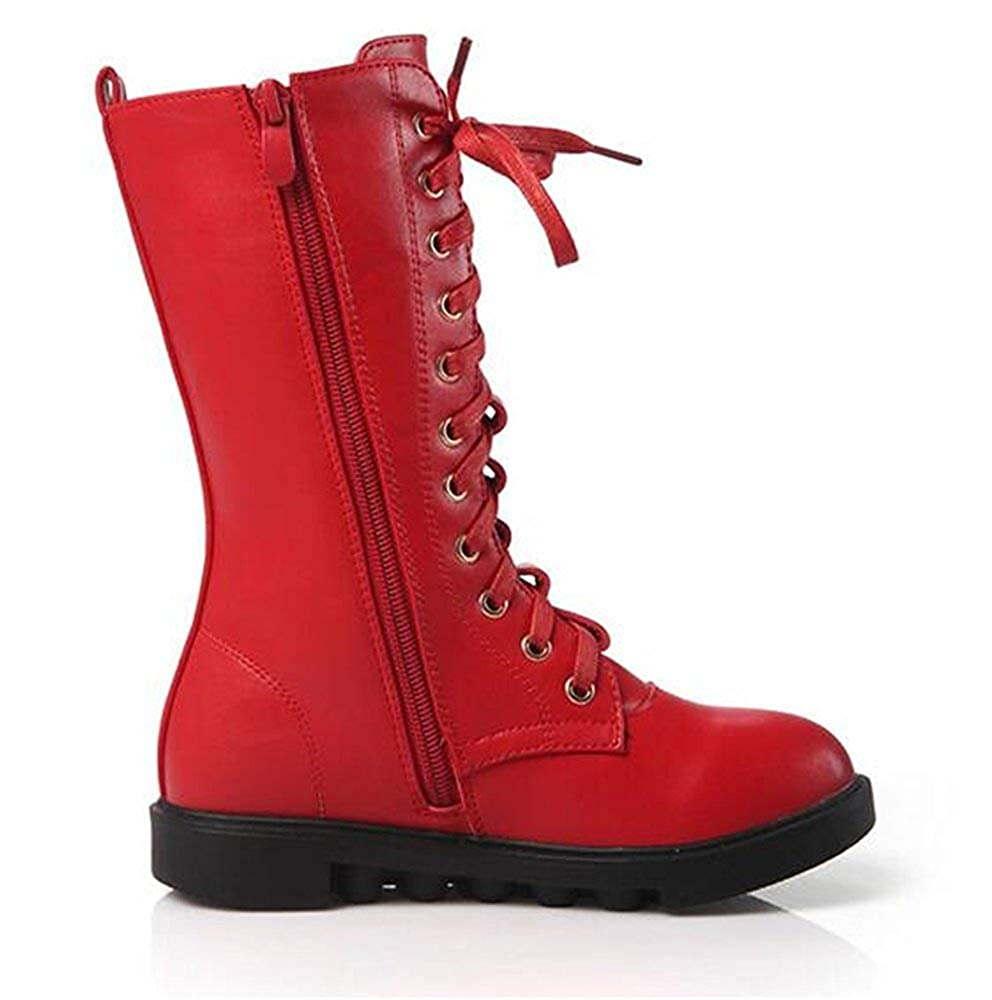 Toddler//Little Kid//Big Kid MOREMOO Kids Girls Leather Lace-Up Zipper Mid Calf Combat Riding Winter Boots