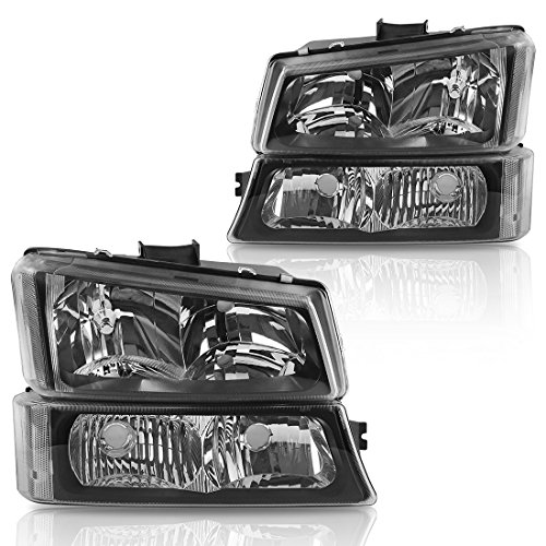 (Headlight Assembly kit for 2003-2006 Chevy Avalanche / 2003-2007 Chevrolet Silverado 1500 2500 3500 1500HD 2500HD Pickup Headlamp Replacement, Black Housing with Bumper Lamp, 2 Year)