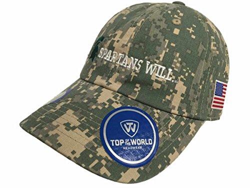 地殻ワーディアンケース相互接続Michigan State Spartans牽引デジタルカモSpartans Will US Flag調整帽子キャップ