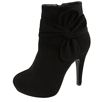 Top Moda MVE Shoes Women's High-Heels Frosted Low-Top Solid Zipper Boots | Ankle & Bootie
