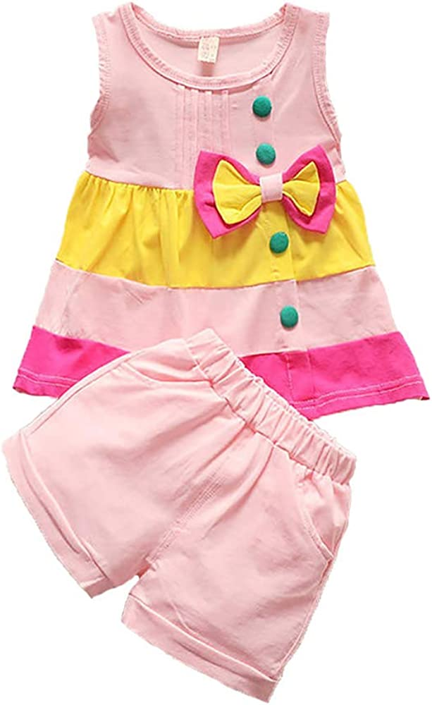 BABICOLOR Toddler Baby Clothes for Girls Sleeveless Tops Striped Shorts Pants Summer Outfit Set