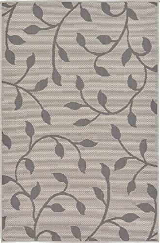 Unique Loom Outdoor Botanical Collection Floral Vines Transitional Indoor and Outdoor Flatweave Gray Area Rug 3' 3 x 5' 0