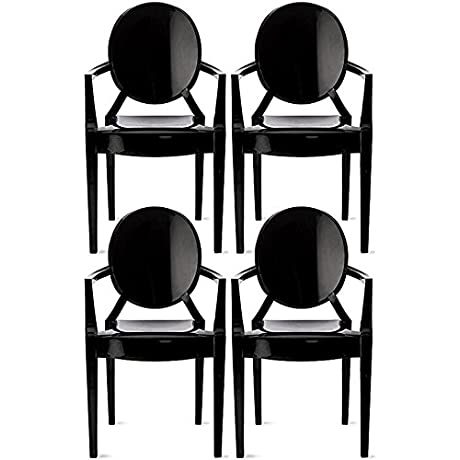 2xhome Set Of 4 Modern Ghost Chair Armchair With Arm Polycarbonate Plastic Black
