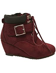 Bella Marie Girls Wine Buckle Lace Up Zipper Ankle Boots 11-4 Kids