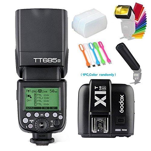 Godox Thinklite TT685S TTL High Speed Sync 1/8000s GN60 Camera Flash Speedlite Light + X1T-S Wireless Trigger Transmitter Compatible for Sony Cameras+Diffuser &Filter&Snoot+USB LED