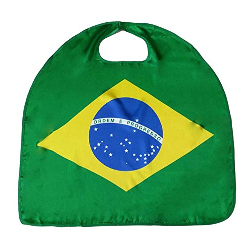 YHOUSE 2 Pcs World Cup 2018 Wearable Flag Cape Cloak, Soccer Fans Cape Costume for Sports(Brazil)