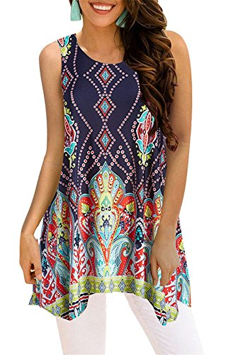 Tanst Women Summer Sleeveless Floral Print Asymmetrical Hem Casual Tunic Top (Large, Navy Blue)