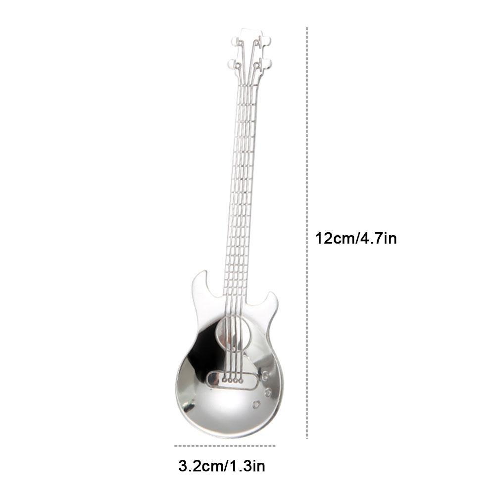 cucchiaio in acciaio inox con design creativo a forma di chitarra aperitivo o per mescolare bevande t/è cucchiaini da caff/è aperitivo set di cucchiaini da dessert Nero Aolvo