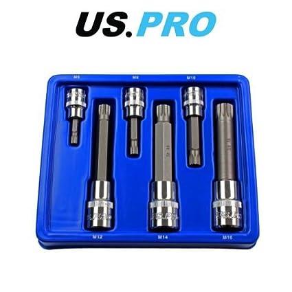 US Pro 3228 - Juego de 6 puntas de destornillador de 3/8 y 1/2