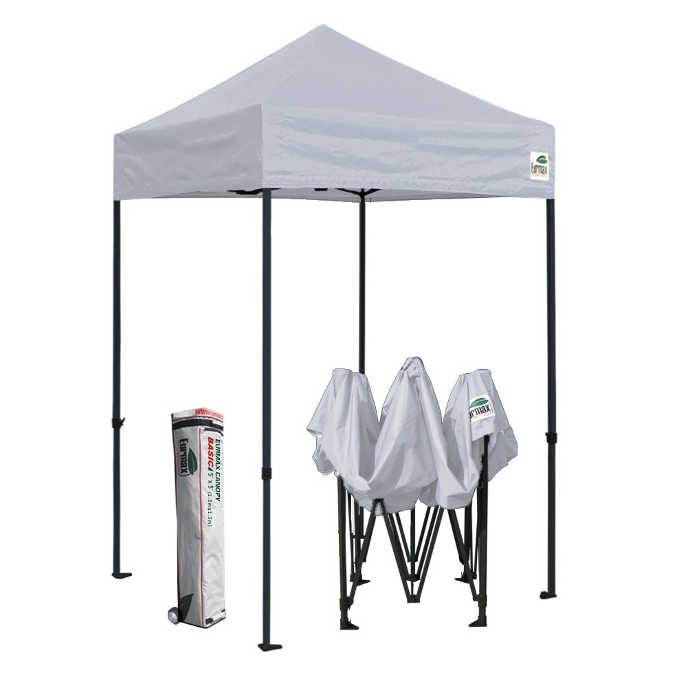 Eurmax 5x5 Ez Pop up Canopy Outdoor Heavy Duty Instant Tent Pop-up Canopies Sun Shelter with Deluxe Wheeled Carry Bag (Grey)