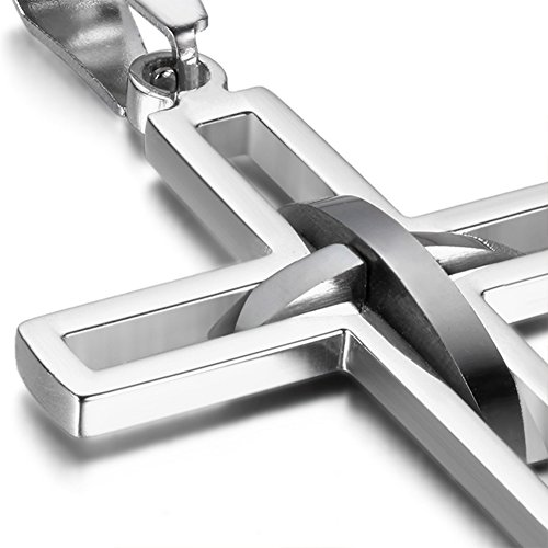 Oidea Stainless Steel Mens High Polish Hollow Openwork Cross Pendant Necklace for Men Women Teens,Hypoallergenic,Silver,Gold,Black,Blue