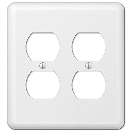 White Metal Double Duplex Outlet Switch Wall Plate Cover Enamel