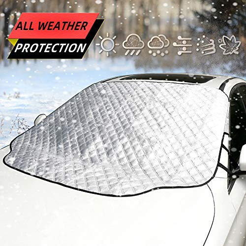 Five Bananas Car Windshield Snow Cover, Frost Guard Winter Windshield Snow Ice Cover Magnetic Edges Car Snow Windshield Protector Fits Most Cars and SUV