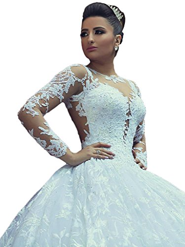Gotidy Sexy Long Sleeves Ball Gown Wedding Bridal Dresses Lace Court Train GO354